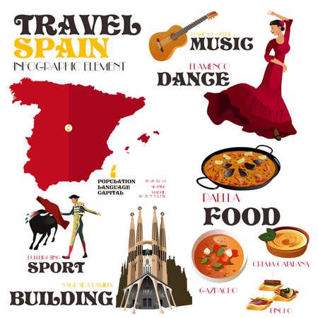 スペイン旅行へのインフォ グラフィック要素のベクトル図  イラスト・ベクター素材