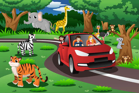 A vector illustration of family on a trip to an animal park
