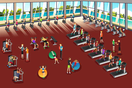 A vector illustration of scenes inside a fitness center Иллюстрация