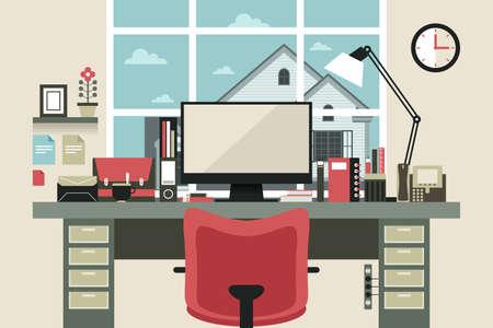 フラットなデザインのモダンなホーム オフィス インテリアのベクトル イラスト