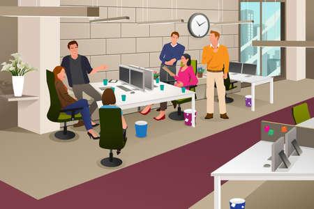 Een vector illustratie van een groep mensen uit het bedrijfsleven in een informele bijeenkomst