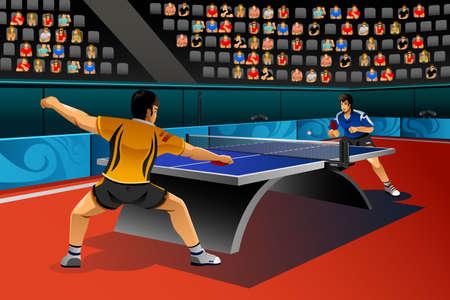 competition: Una ilustración vectorial de hombres jugando al tenis de mesa en el concurso para la serie de la competencia deportiva