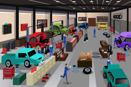 Een vector illustratie van scènes in een auto reparatiewerkplaats