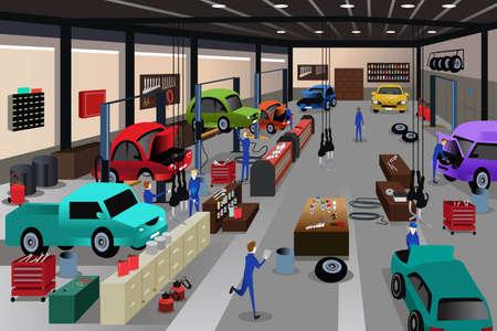 herramientas de mecánica: Una ilustración vectorial de escenas en un taller de reparación de automóviles