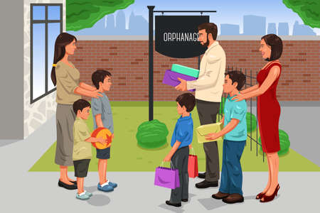 A vector illustration of family giving donation to the orphanage Stock Illustratie