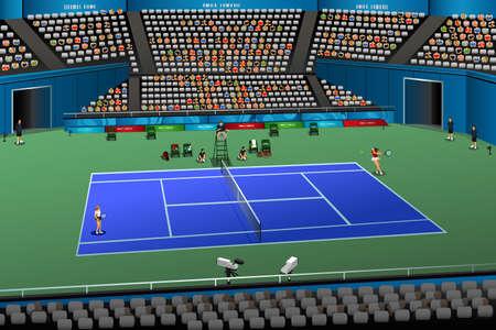 女性スポーツの競争シリーズのための競争のテニスのベクトル イラスト