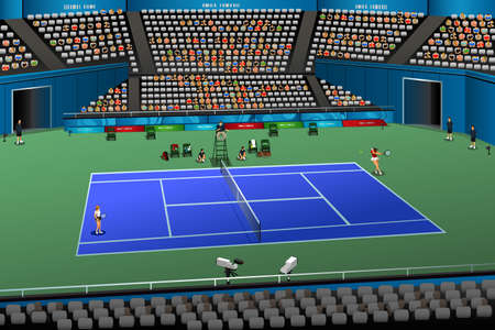 A vector illustration of women playing tennis in the competition for sport competition series