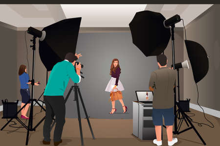 A vector illustration of photographer shooting model in studio Vectores