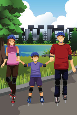 rollerblading: A vector illustration of happy family rollerblading in a park together