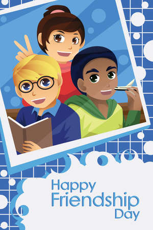 friendship day: A vector illustration of kids celebrating friendship day Illustration