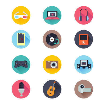 handy cam: A vector illustration of multimedia icon sets in flat design