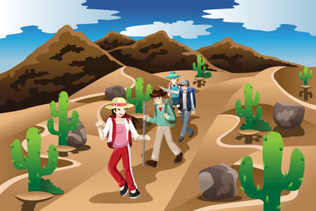 A vector illustration of people hiking in the desert Иллюстрация