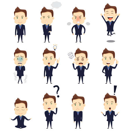 depress: A vector illustration of businessman expression icon sets Illustration