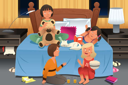 slumber: A vector illustration of young girls having a slumber party