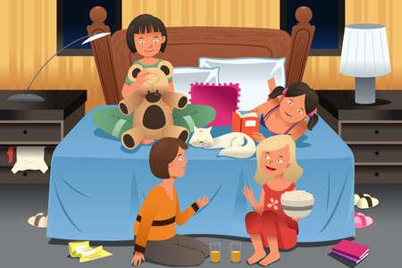 Een vector illustratie van jonge meisjes die een slaapfeestje