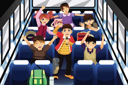 노래와 학교 버스 내부에 춤 학교 아이들의 벡터 일러스트 레이 션