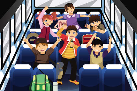 A vector illustration of school children singing and dancing inside the school bus