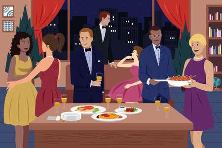 함께 저녁 식사 파티를하는 사람들의 벡터 일러스트 레이 션