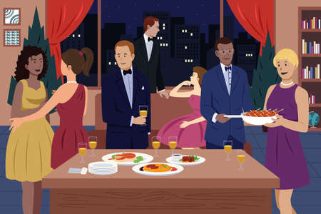 A vector illustration of people having dinner party together Ilustracja