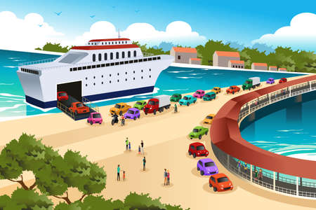 A vector illustration of cars queuing waiting for a ferry