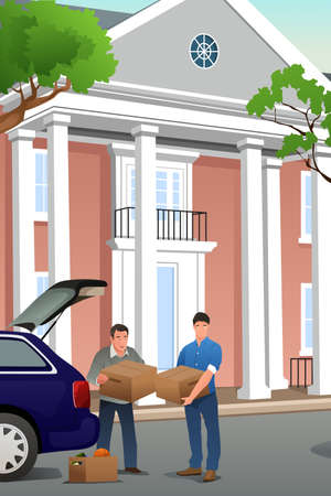 A vector illustration of father helping his teenage son moving to a new campus Illustration
