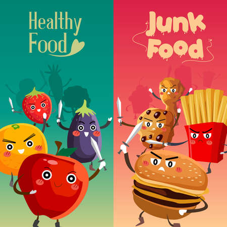 A vector illustration of healthy food versus unhealthy food