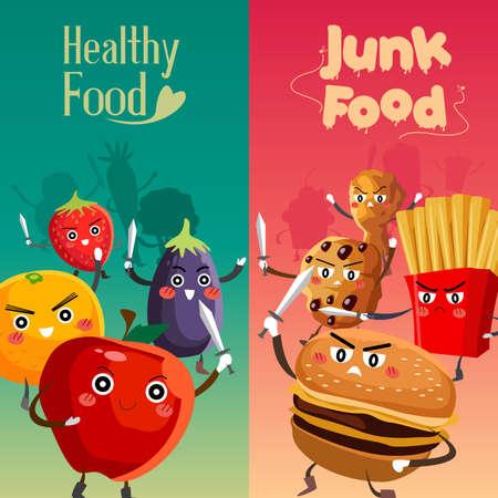 alimentos saludables: Una ilustración vectorial de una alimentación sana frente alimentos poco saludables