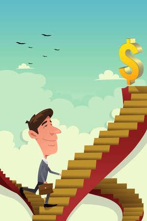 career ladder: A vector illustration of businessman going up on a career ladder
