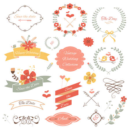 A vector illustration of wedding icon sets Vettoriali