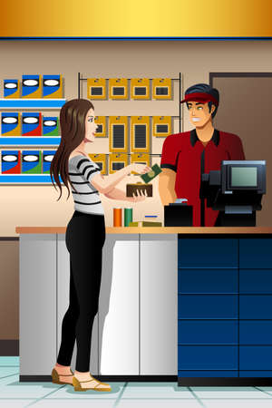 A vector illustration of beautiful Woman Paying the Cashier at the Store Illustration