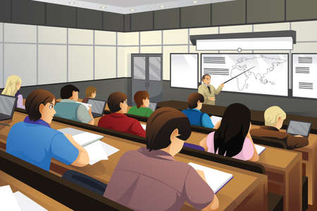 A vector illustration of college students in class with professor teaching
