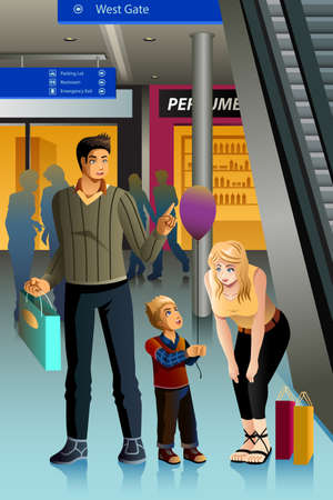 A vector illustration of happy family going shopping together Ilustrace