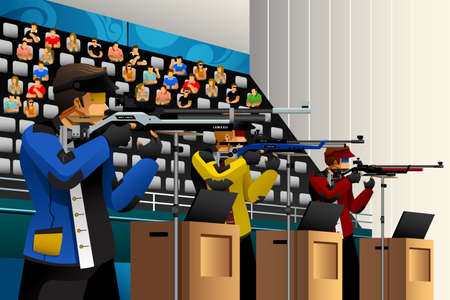 competitions: A vector illustration of people shooting with rifle at a target in the competition for sport competition series