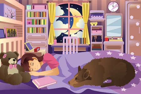 Een vector illustratie van meisje slapen in haar kamer met haar hond