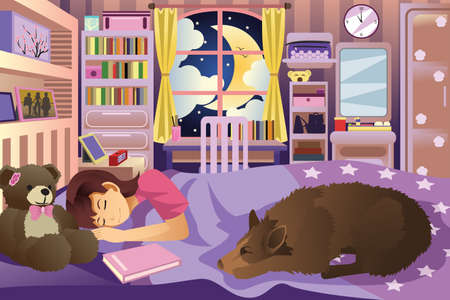 perro caricatura: Una ilustración vectorial de una niña durmiendo en su habitación con su perro
