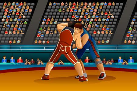 competition: Una ilustración vectorial de dos atletas masculinos luchan en el concurso de serie de la competición deportiva Vectores