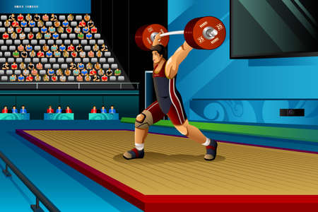competitions: A vector illustration of man lifting weight in the competition for sport competition series Illustration