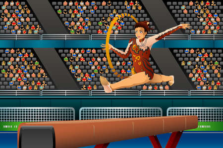 competition: A vector illustration of young girl doing gymnastic with hoop in the competition for sport competition series