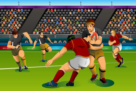 rugby: A vector illustration of people playing rugby seven in the competition for competition sport series