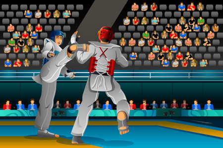 A vector illustration of Men competing in a Taekwondo competition for sport competition series