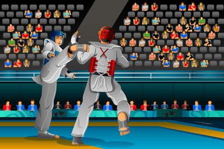 competencia: Una ilustración vectorial de los hombres que compiten en una competición de Taekwondo para la serie de la competencia deportiva Vectores