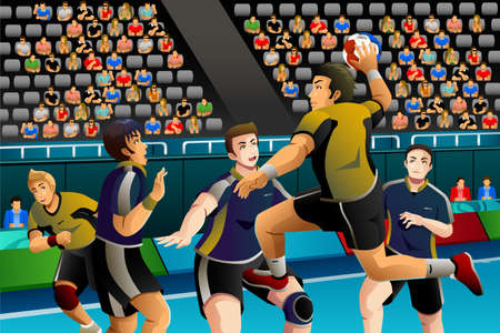 A vector illustration of people playing handball in the competition for sport competition series