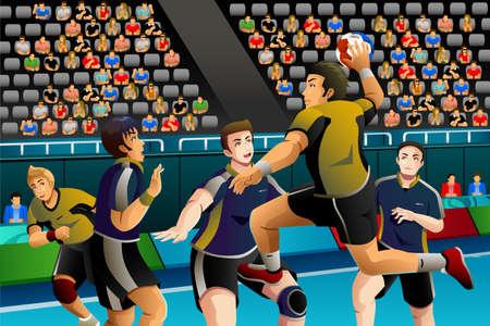 balonmano: Una ilustraci�n vectorial de personas jugando al balonmano en el concurso de serie de la competici�n deportiva