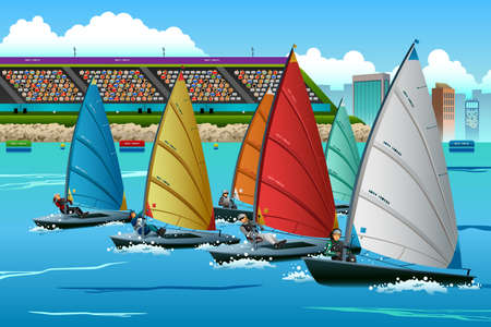A vector illustration of athletes sailing in the competition for sport competition series