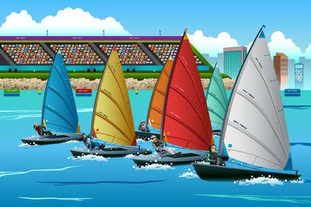 Una ilustración vectorial de los deportistas de vela en la competencia por la serie competición deportiva Foto de archivo - 42907474
