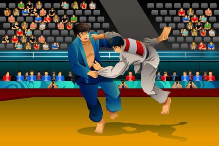 judo: Una ilustración vectorial de los hombres que hacen el judo en la competición