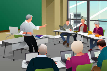 A vector illustration of adult in a college classroom with professor teaching Ilustração