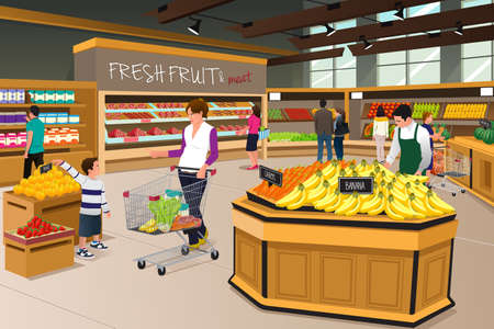mujer en el supermercado: Una ilustración vectorial de la madre y su hijo de compras en una tienda de comestibles