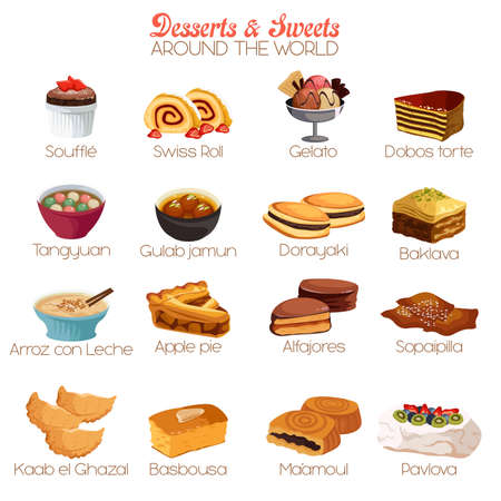 A vector illustration of dessert and sweets around the world icon sets