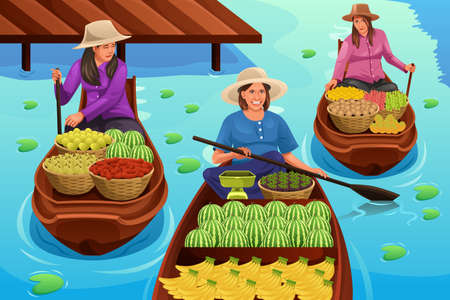 A vector illustration of woman selling fruit in a traditional floating market Illustration